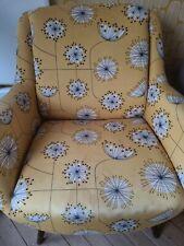 2 x Retro/Mid-Century German Armchairs Yellow Dandelion Print. No reserve!