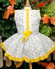 DREAM 0-7 YEARS BABY GIRLS GOLD TULIPS  SPANISH DROP WAIST LINED DRESS