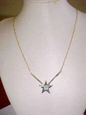 """Gold Star Necklace Crystal Solitaire Pendant Fine Gold Cable Chain 16"""""""