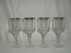 "4 - 6 1/8"" Fostoria Bracelet Wine Glasses Platinum Trim"