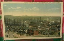 Old Pittsburgh Pa. Homestead Steel Works Mill & Worker Houses Postcard Repro