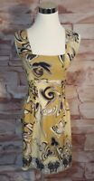 Aysha Anthropologie Size 2 Silk Mustard Yellow Cinched Floral Sleeveless Dress