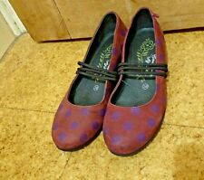 GUDRUN SJODEN Suede burgundy purple polka dots Mary Jane shoes  5 (38)