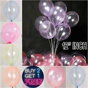"Pearl CLEAR CRYSTAL Latex Balloons 12""INCH Wedding Birthday Party Decoration UK"