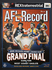 2005 Wizard Cup Grand Final Carlton v West Coast Eagles Football Record unmarked