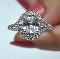 3,50 Karat Ovale Form 585er Solide Echt Weiß Gold Solitär Verlobung Ring