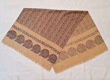 VINTAGE AUTHENTIC PAISLEY ART BEIGE BROWN BLUE SILK LONG MEN'S SCARF
