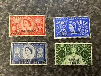 BAHRAIN POSTAGE STAMPS SG90-93 1953 CORONATION LIGHTLY MOUNTED MINT