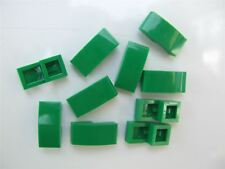 10 X LEGO VERT PLAQUE AVEC NOEUD 1x2x2/3 - 6047426 (pièces et morceaux)