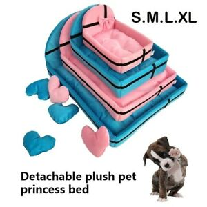 Pet Princess Dog Cat Soft Warm Sleeping Bed Cushion Detachable Mat Basket Kennel