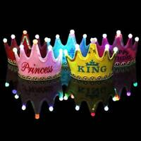 LED Luminous Happy Birthday Party Hat King Cap Princess Crown Decorative-