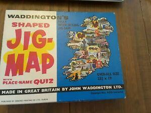 Vintage Waddington's Shaped JIG -MAP Ireland with Place Name Quiz No. 429