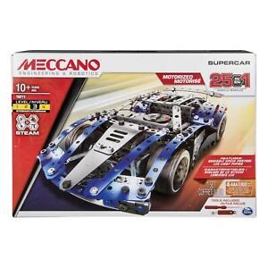 Meccano 6044495 - 25 in 1 Supercar Model Building Set Lights & Motor Age 10+