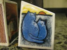 Keramik-Brosche Katze Liebespaar Sonne Mond Romantik Signiert Arabia Finnland