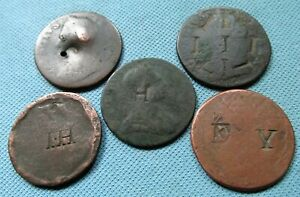 Lot 5 1700s Colonial Era British Halfpennies w/ Counterstamps Initials IH EY etc