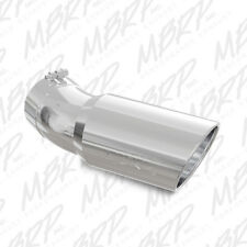 MBRP T5154 304 SS Round Rolled Edge Angle Cut Clamp-On Polished Exhaust Tip
