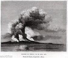 VESUVIO: Eruzione del 26 Aprile 1872.Vesuvius.Golfo di Napoli.Stampa Antica.1876