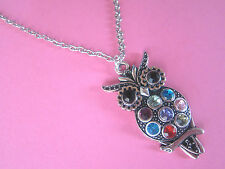 """Vintage Rainbow Diamante Silver Owl 18"""" Silver Plated Necklace New in Gift Bag"""