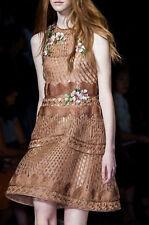 Alberta Ferretti RUNWAY Floral Embellished Open-Back Trapeze Dress Size IT42