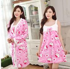 Cute 2pcs Hello Kitty Soft Winter Warm Womens Robe & Sleepwear Pajamas Set L