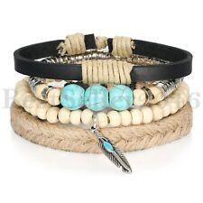 4pcs Tribal Braided Cuff Bangle Handmade Vintage Wristband Leather Wood Bracelet