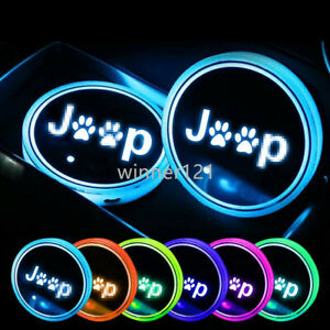 2PCS LED Car Cup Holder Lights Pad Mat fit for JEEP Interior Atmosphere Lamp