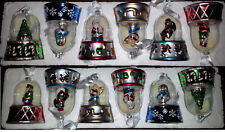 """NWOT Lot of 6 Christmas Ornament Wind Up Musical Box 4"""" Carousel Glass Globe"""