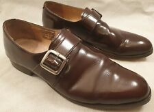 Samuel Windsor Brown Leather Monk Buckle Fornal Shoes Leather Soles UK Size 11