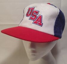 Vtg Team USA Cordroy Cap Ted Fletcher Trucker Snapback