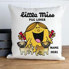 Little Pug Cushion Cover Personalised Christmas Pillow Gift Funny Girls KC24