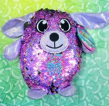 """New SHIMMEEZ Delilah the Dog 8"""" Green & Pink Sequin Plush Toy"""