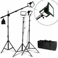 3 Lighting Stand Set Led flood Light Boom Black Body Video Light Photo Studio