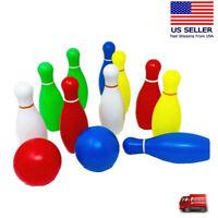 Toy Bowling Set For Toddlers 12 Piece - 10 Pins 2 Balls  Kindergarten Fun Game