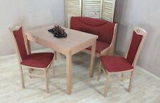 Essgruppe 4-tlg. Tisch-Ausziehbar Stühle Truhenbank Bank Farbe: Buche/Terracotta