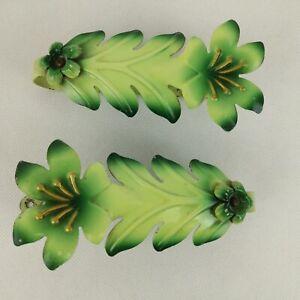 "Toleware Floral Curtain Tie Backs Vintage Metal Green Leaf Retro Bedroom 6"""