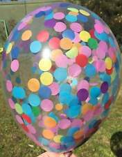 CONFETTI BALLOON CLEAR Rainbow Tissue Kids Party Wedding Photo Prop Polka Dots