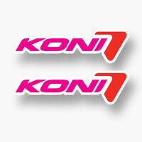2x KONI Sticker Vinyl Decal Sponsor Logo Shocks Struts Yellow STAGG Racing