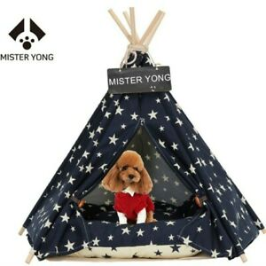 NEW Mister Yong 24x28 Pet Cat Dog Tent Thick Comfortable Bed Blue White Stars