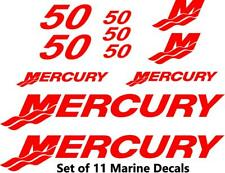 (11pc) Set of 50 Hp Mercury outboard cowling decal set custom color choices