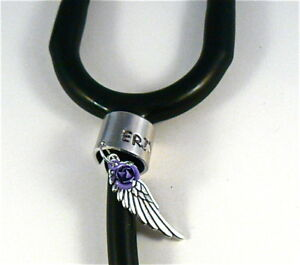 Stethoscope ID tag Ring cuff,Angel Wing w/rose engraved.custom,Stethoscope Name