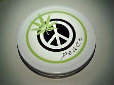 Metal Storage Tin Round 8c with Peace & Leaf Design. Air Tight 8cm Round Tin