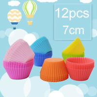 12Pcs Colorful SIlicone Round Cake Muffin Cupcake Mold Maker Baking Tool Soft