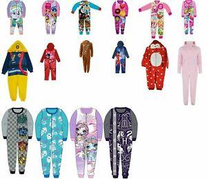 Girls Boys pyjamas 1onesie all in one fleece jersey nightwear sleepsuit