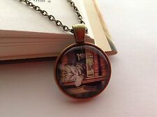 BOOKS AND CAT ART DESIGN GLASS CABOCHON BRONZE SETTING CHAIN PENDANT NECKLACE
