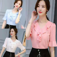 Chiffon Shirt Loose Summer Ladies T-Shirt Top Women Short Sleeve Blouse Fashion