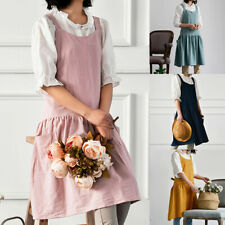 Women Cotton Linen Cross Back Apron Japanese Housework Wrap Pinafore Dress UK