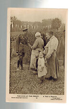 Mint WW 1 RPPC Postcard King George V England At Front Talking to French Peasant