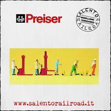 PREISER 10294 SET PERSONAGGI: magazzinieri con carrelli movimentazione - 1/87