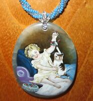 Émile Munier Pendant Girl playing with Kitten Cat Hand Painted Stone Izotov GIFT