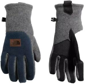 The North Face Mens Fleece Patch Gloves Gray/Blue Size Medium